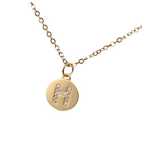 Dorical Buchstaben Kette/Damen-Kette Buchstaben A-Z in Silber oder Rosegold - Alphabet Halskette mit Anhänger- Silberkette Halschmuck für Damen, Kinder & Herren Sonderverkauf(02-H,One Size)