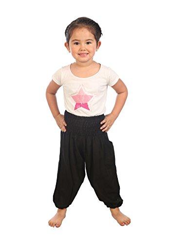 Lofbaz Niños Sólidos Hippie Gypsy Pirata Pantalones Tailandés Bohemia Negro Talla 4T
