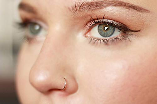 iDeals Surgical Steel Thin Small Silver Rose Gold Open Nose Ring Hoop 0.6mm Cartilage Piercing 10mm Silver
