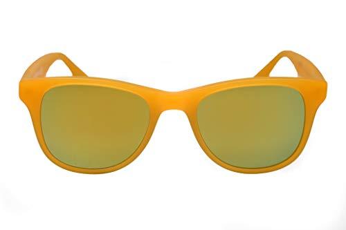 amoloma Gafas de sol con cristales de espejo dorado mate y montura de acetato naranja mate para hombre y mujer