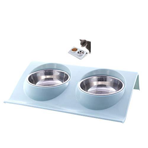 Comedero Plato para Gatos,Animal Mascotas Cuencos Durable Comedero Doble de Acero Inoxidable,con Diseño Antideslizante y Antiderrames,para Perros y Mascotas, alimentador de Agua para Gatos y Cachorros