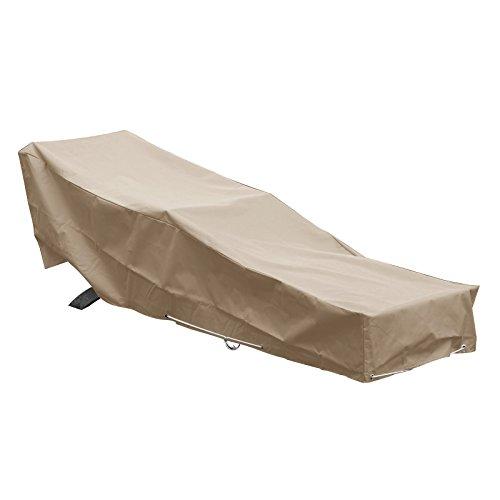 GREEN CLUB Housse De Protection pour Chaise Longue transat de Jardin Haute Qualité Polyester doublée PVC L 205 x l 70 x h 60 cm Couleur Beige