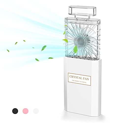 LIGHTDESIRE Mini Handheld Fan Rechargeable, Portable Retractable 3 Speeds with Fragrance, Personal Fans Small Handheld Battery Operated Desk Electric Fan for Travel Home Office School Queue (White)