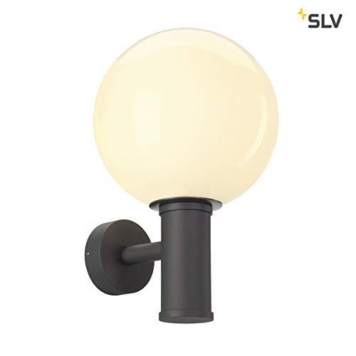 SLV Kugelleuchte GLOO PURE zur Außenbeleuchtung von Wänden, Wegen, Eingängen   Wand-Lampe, Wandleuchte LED, Kugellampe, Aussen-Leuchte, Gartenlampe, Gartenleuchte, Wegeleuchte   E27 max. 23W EEK E-A++