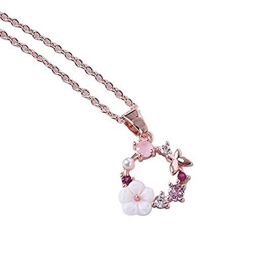 MTWERS Crystal Creative Butterfly Flores Collar Zircon Shell Garland Colgante Collar Mujer Joyería Accesorios Moda (Color : A25, Size : L25)