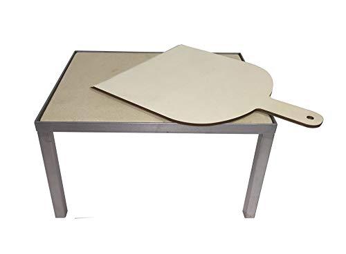 Firestar Pizzastein für DN 700/800 inkl. Pizzaschaufel Gartenkamin, Edelstahl, beige