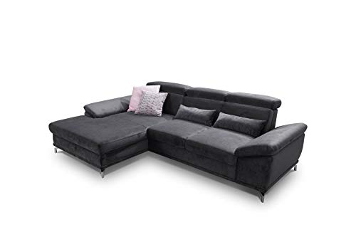 CAVADORE Ecksofa Capri / Sofaecke mit XL-Longchair links & Bettfunktion / Inkl. Sitztiefenverstellung & verstellbaren Kopfteilen / 295 x 85-103 x 181 / Mikrofaser: Schwarz