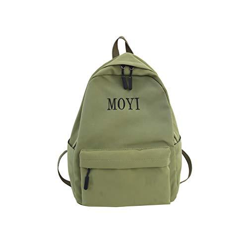 VECOLE Rucksäcke Damen Buchstabenmuster Campus Studententasche Reisetasche mit großer Kapazität Schulranzen Outdoor-Shopping Reiserucksack(Grün)