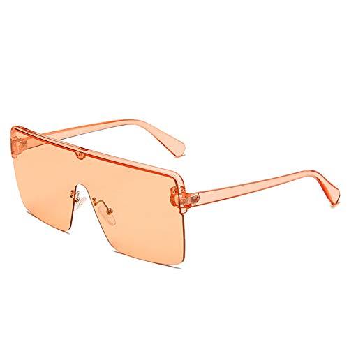 YTYASO Gafas de Sol graduadas sin Marco cuadradas a la Moda para Mujer, Gafas de Sol con Tapa Plana y Espejo Rosa para Mujer/Hombre