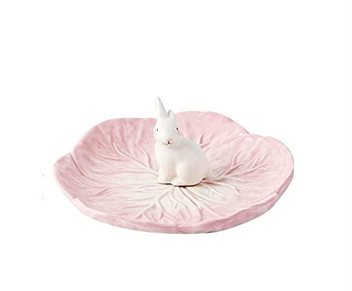 Cerámica de alta temperatura bajo vidriado animal conejo postre plato de fruta plato de cena plato de postre de repollo rosa
