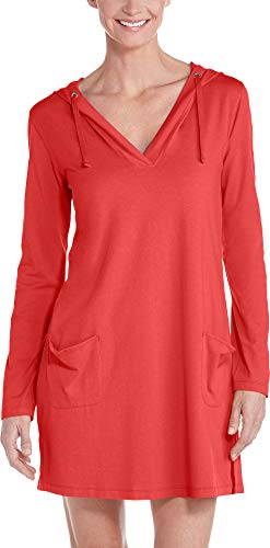 Coolibar UPF 50+ Women's Catalina Beach Cover-Up Dress - Sun Protective (X-Large- Poppy Red)