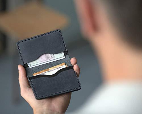 Negro y Gris Cartera de piel. Apta para Tarjeta de Crédito, Efectivo o Carnet de Identidad. Bolsa Rústica Unisex.