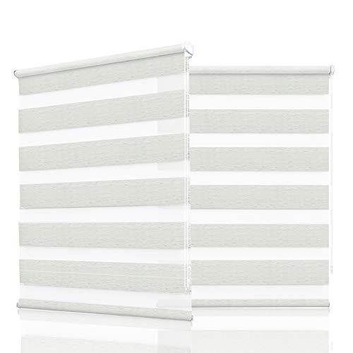 HOMEDEMO Doppelrollo Klemmfix ohne Bohren (Leinen, 105x150cm) Duo Rollo mit Klämmträgern Sicht und Sonnenschutz für Fenster & Türen