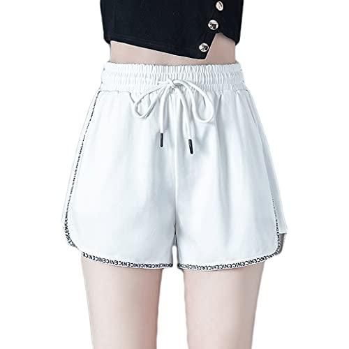 Pantalones cortos deportivos de verano de estilo fino con bolsillos y cordón adecuado para mujeres adolescentes (color: blanco, tamaño: pequeño)