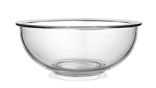 Bovado USA Glass Bowl for Storage, Mixing, Serving - Clear, Dishwasher, Freezer & Oven Safe Glass, Easy-Clean, 4 QT