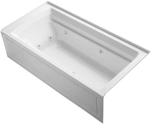 Lowest Price! Kohler K-1124-RAW-0 Archer Alcove Whirlpool Bath Tub with Integral Tile Flange, Right-Hand Drain and Comfort Depth Design, 72-Inch X 36-Inch, White