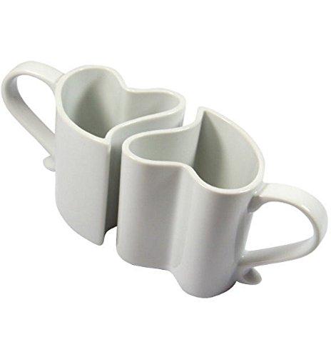 Kemis Kaffeetassen/Teetassen 2er-Set Herz, weiß