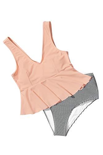 CUPSHE Rosa Volant und gestreifter Bikini, XL