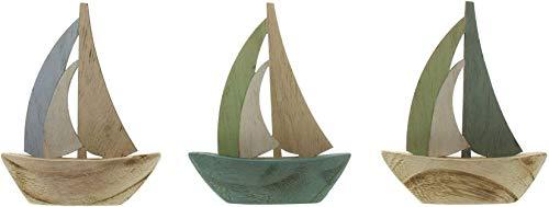 3 Mini Segelboote aus Holz, 10x12 cm, Maritime Deko, Segelschiffe, Dekoboote, Holzboote