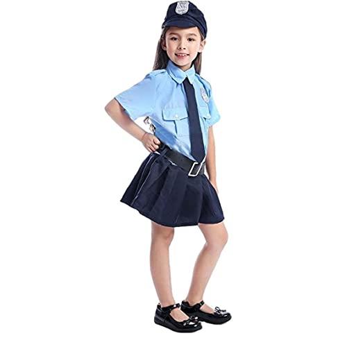 Sanfiyya Disfraz de policía para niños Dress Up Set Cosplay Uniform Police Police Play Vestido para la Fiesta de Halloween M