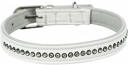 Trixie halsband voor hond active comfort met strass steentjes leer wit 20-24x1,2 cm