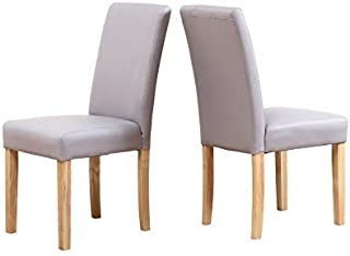 Neo® - Juego de 2 sillas de piel sintética para comedor o restaurante (2 unidades, patas de madera de roble)
