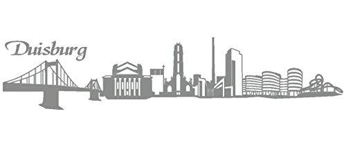 Samunshi® Wandtattoo Duisburg Skyline Wandaufkleber in 6 Größen und 19 Farben (150x32cm mittelgrau)