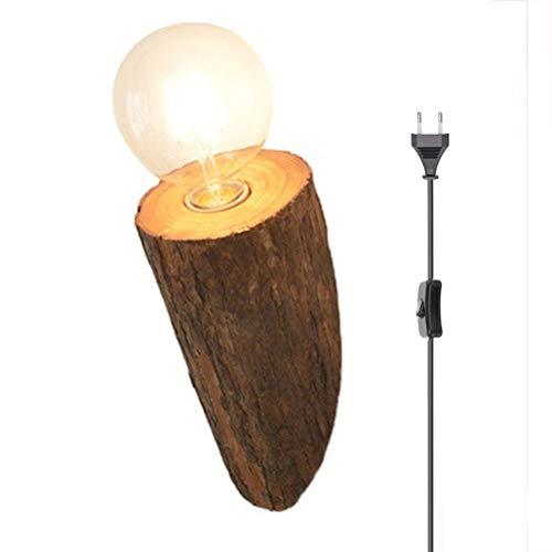 Lámpara de pared de madera con interruptor, ligero de pared de cabecera dormitorio,sala de estar creativo lámpara de tocón árbol madera maciza con cable / enchufe de 1,5 m lámpara decoración E27