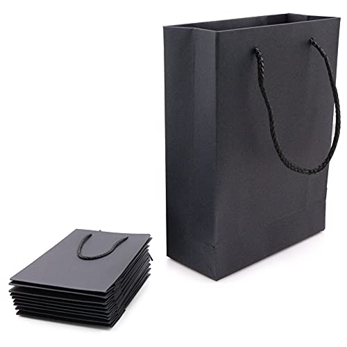 Bolsas de Papel con Asa, Bolsa de Regalo Negra, Bolsas de Papel 15*6*20CM, Bolsa de Cordón, Envoltura de Regalo Elegantes bolsas de papel para cumpleaños, boda, fiesta de graduación, bricolaje