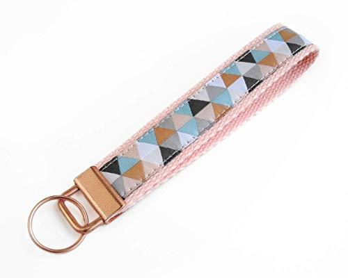 Schlüsselanhänger mit geometrischem Muster   Farbe: Roségold-Kupfer-Blau   Baumwolle & Jacquardborte   Maße: 15 x 2.5 cm