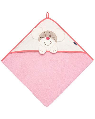 Morgenstern Babyhandtuch mit Kapuze für Kinder Babys in Rosa mit Maus-Motiv