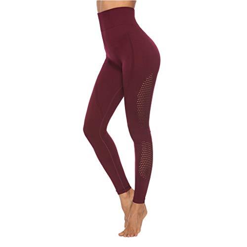 Junjie Pantalones Deportivos Mujer Color Liso Push Up Leggings de Cintura Alta Leggins de Yoga Transpirables Elásticos Mallas Reducir Vientre Pantalón de Deporte Training Fitness Pilates