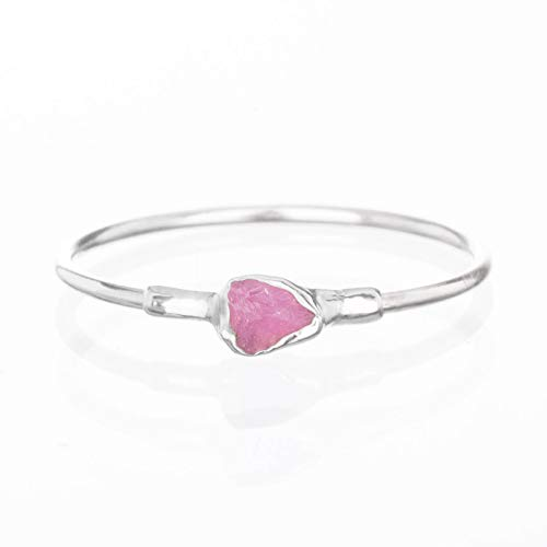 Raw Ruby Ring, Sterling Silver, Size 6, Dainty Boho Style Jewelry