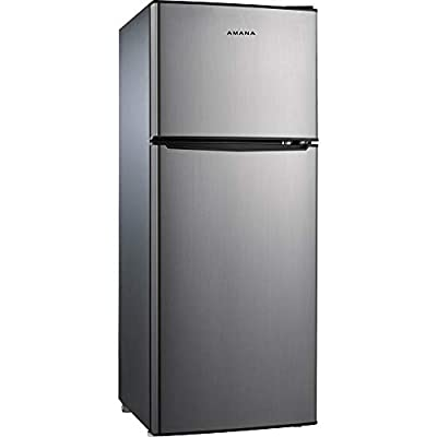 AMANA AMAR46TS1E Compact Refrigerator, Dual Door Fridge Adjustable Mechanical Thermostat with True Freezer, 4.6 Cu.Ft, Stainless Steel Look