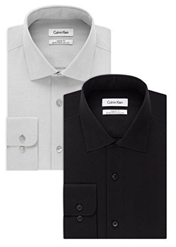 Calvin Klein Men's Slim Fit Non-Iron Herringbone Point Collar Dress Shirt, Smoke/Black, 16.5' Neck 34'-35' Sleeve