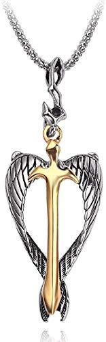 Ahuyongqing Co.,ltd Collar Punk Color Dorado con Colgante de Espada, Collar con alas de ángel, Collares con crucifijo de Alma para Mujeres y Hombres, joyería Fresca