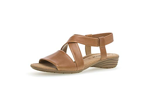 Gabor Damen Sandalen, Frauen Riemchensandalen,Best Fitting,Absatz,weiblich,Lady,Ladies,Women's,Woman,Sommerschuhe,elegant,Cognac,40 EU / 6.5 UK
