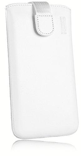 mumbi ECHT Ledertasche Samsung Galaxy A3 (2016) Tasche Leder Etui weiss - Lasche mit Rückzugfunktion Ausziehhilfe (nicht für das Galaxy A3 - A300F von 2015)