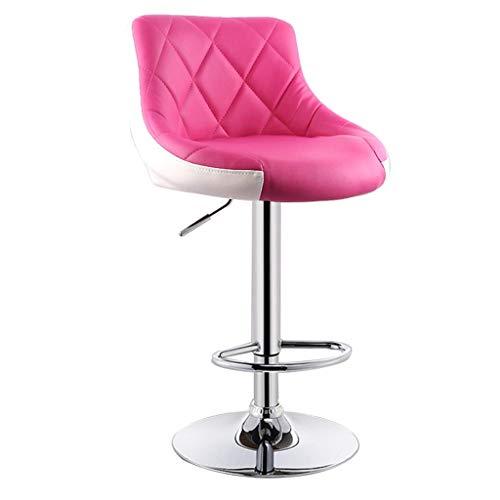 WEHOLY Tapis de Bar rembourré Moderne Tabouret de Bar Petit-déjeuner Chaise de Cuisine Tabouret en Faux Cuir Rotation Rose + Blanc réglable siège Deux tons 58-78CM chaises de Salle à Manger