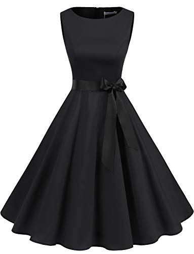 Schwarzes 1950er Vintage Retro Cocktailkleid Rockabilly Damen Kleider Faltenrock Petticoat Schwarzes Partykleid Black L