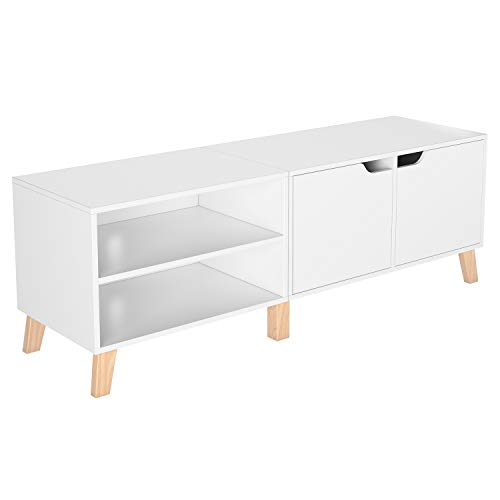 Homfa Meuble TV Table de Salon Scandinave Table Basse Bois pour Bureau TV 140x48x40cm (Blanc)