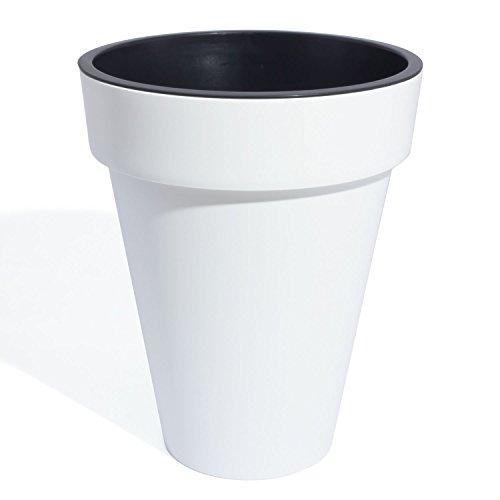 Prosper Plast Cube Blanc Fin 28 cm de diamètre en Plastique Pot de Fleurs, DE Nombreuses Couleurs Disponibles