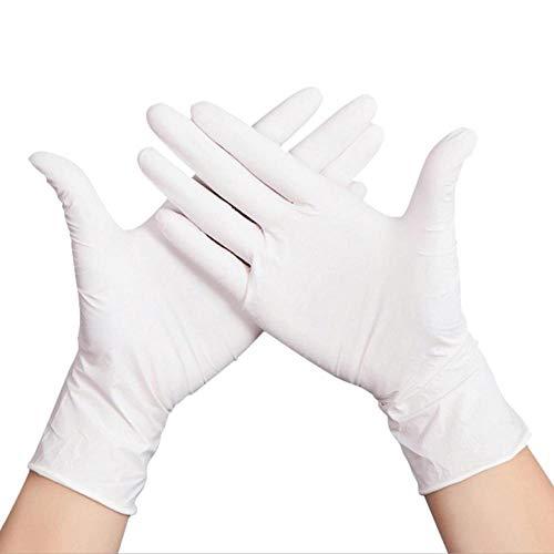 Guantes de nitrilo desechables blancos(100 unidades = una caja de 50 pares)M, blanco, suaves, multiusos, desechables de grado alimenticio, para un trabajo de limpieza seguro