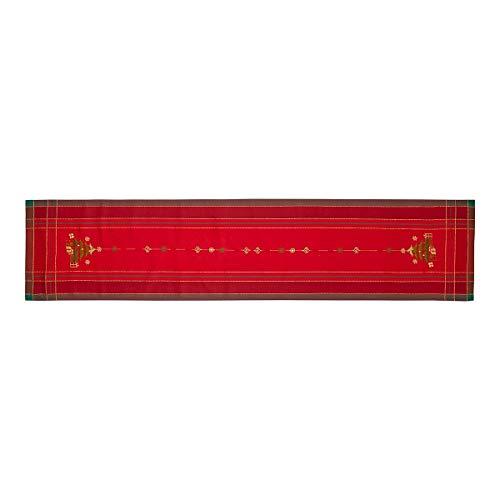 Camino de mesa bordado Navideño en algodón rojo