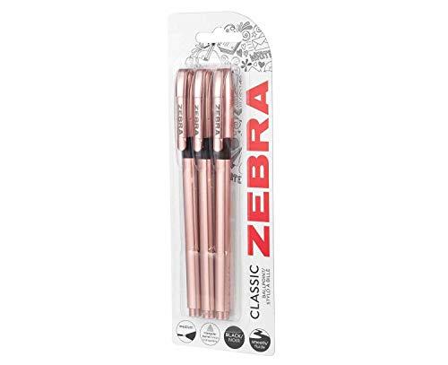Zebra Classic Rose Gold Kugelschreiber, schwarze Tinte, 3 Stück