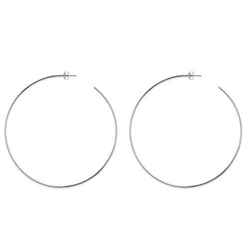 Oro bianco 14K rotonda grande orecchini a cerchio, diametro 105mm