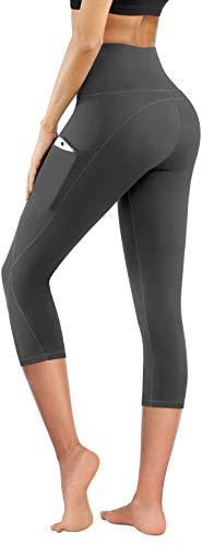 PHISOCKAT High Waist Capris Yoga Pants with Pockets, Tummy Control Workout 4 Way Stretch Capris Yoga Leggings (Capris (Gray), Large)
