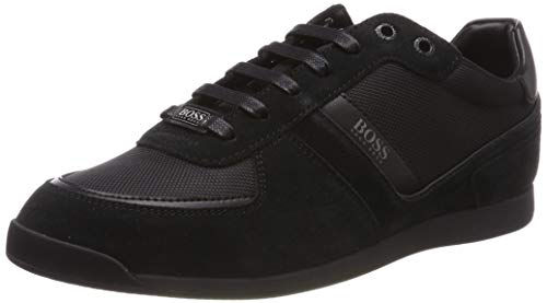BOSS Herren Glaze Lowp Lowtop Sneakers aus Leder, Veloursleder und Material-Mix Größe 44