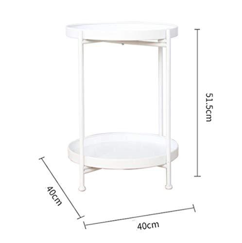 Nachtkastje LKU Luxe metalen ronde salontafel salontafel met opbergvak, meubelen, Wit