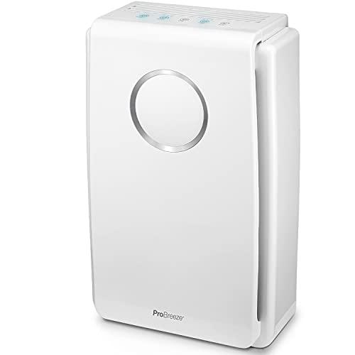 Pro Breeze Purificateur d'Air avec Filtre HEPA pour Personnes allergiques - CADR de 218m³/h jusqu'à 40m² - 99,97% de Filtration contre Allergènes, Fumée, Pollen, Poussière - Meilleure qualité de l'air